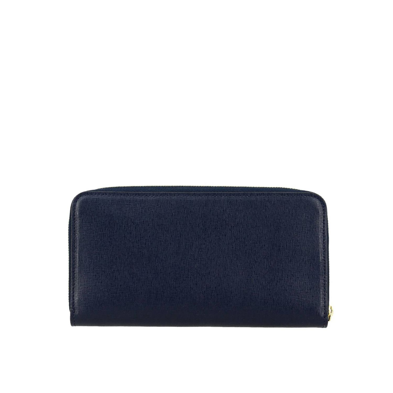 Portafoglio Babylon XL zip around in pelle con logo Furla blue 4