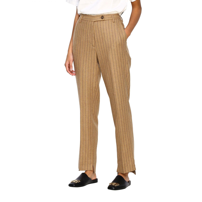Pantalone Golden Goose: Pantalone Golden Goose gessato con tasche america slim beige 4