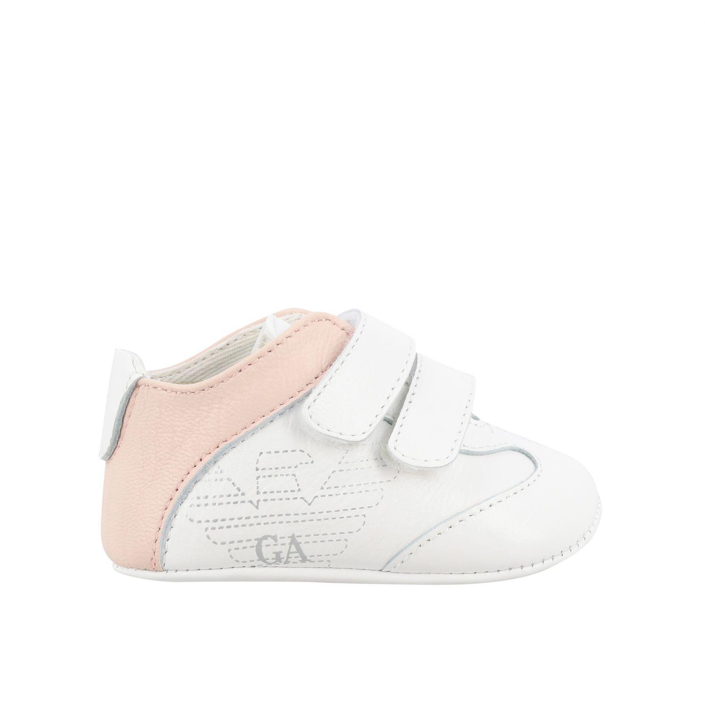 Scarpe Emporio Armani: Sneakers Emporio Armani in pelle con doppie fibbie e logo rosa 1