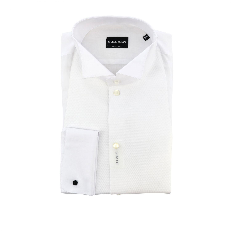 Hemd Giorgio Armani: Giorgio Armani Smokinghemd mit diplomatischem Kragen und Doppelmanschetten weiß 1
