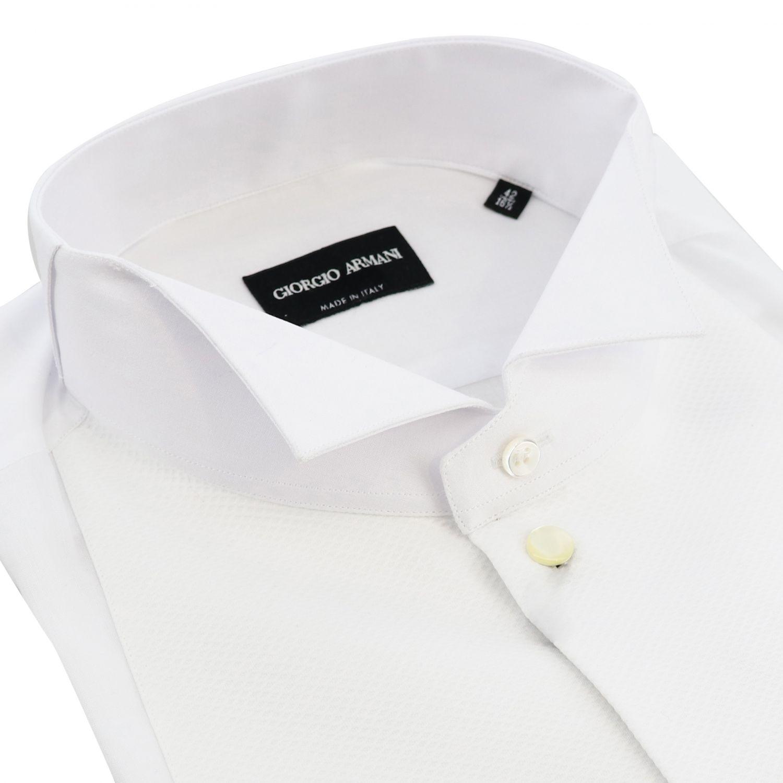 Hemd Giorgio Armani: Giorgio Armani Smokinghemd mit diplomatischem Kragen und Doppelmanschetten weiß 2