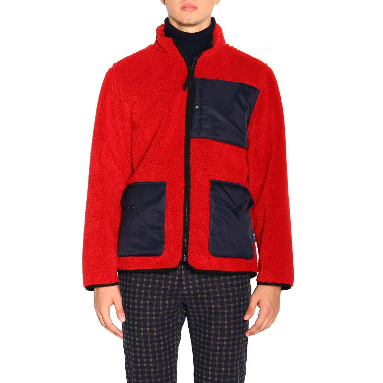 Fay Reversible jacket in leather and fleece red 1