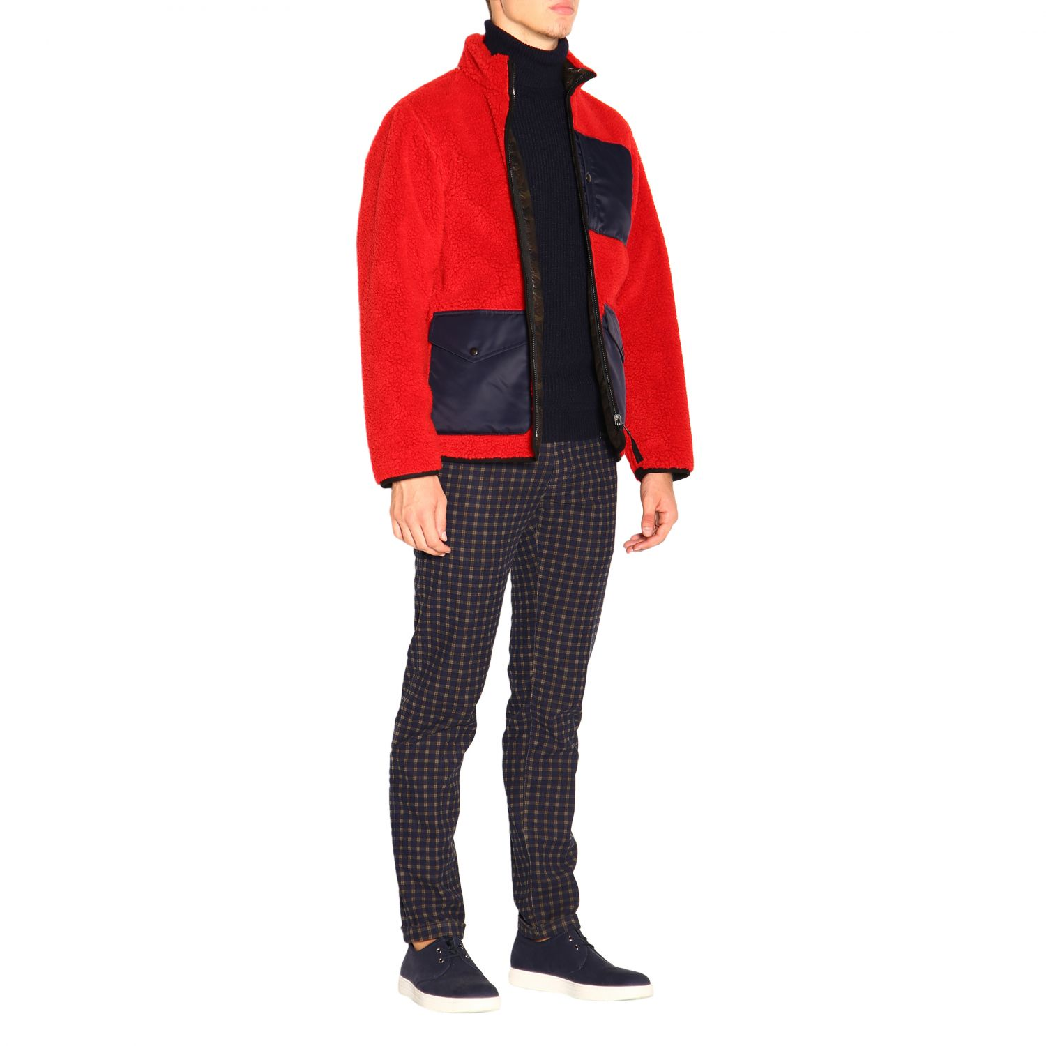 Fay Reversible jacket in leather and fleece red 2