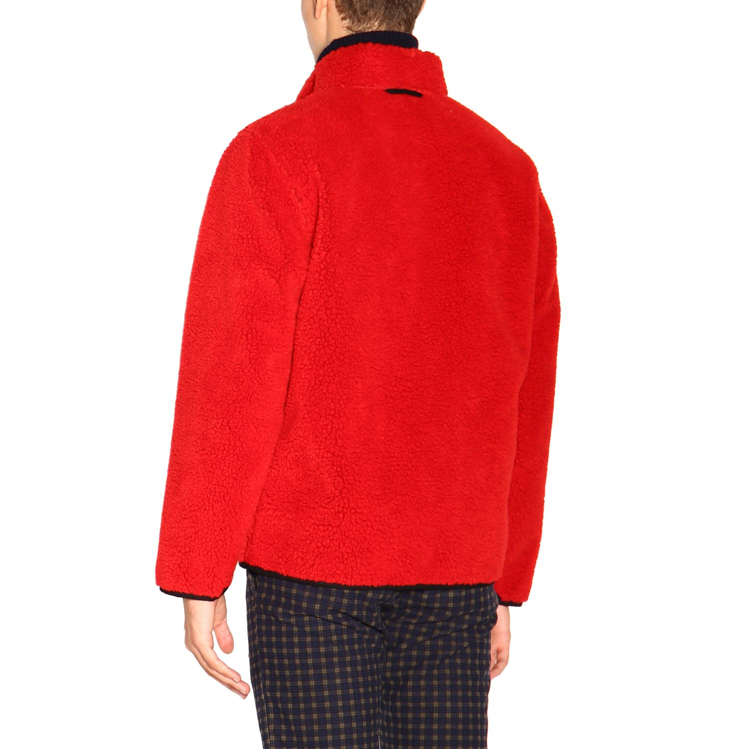 Fay Reversible jacket in leather and fleece red 3