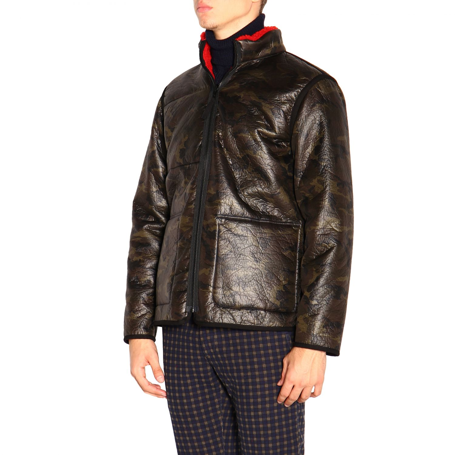 Fay Reversible jacket in leather and fleece red 4
