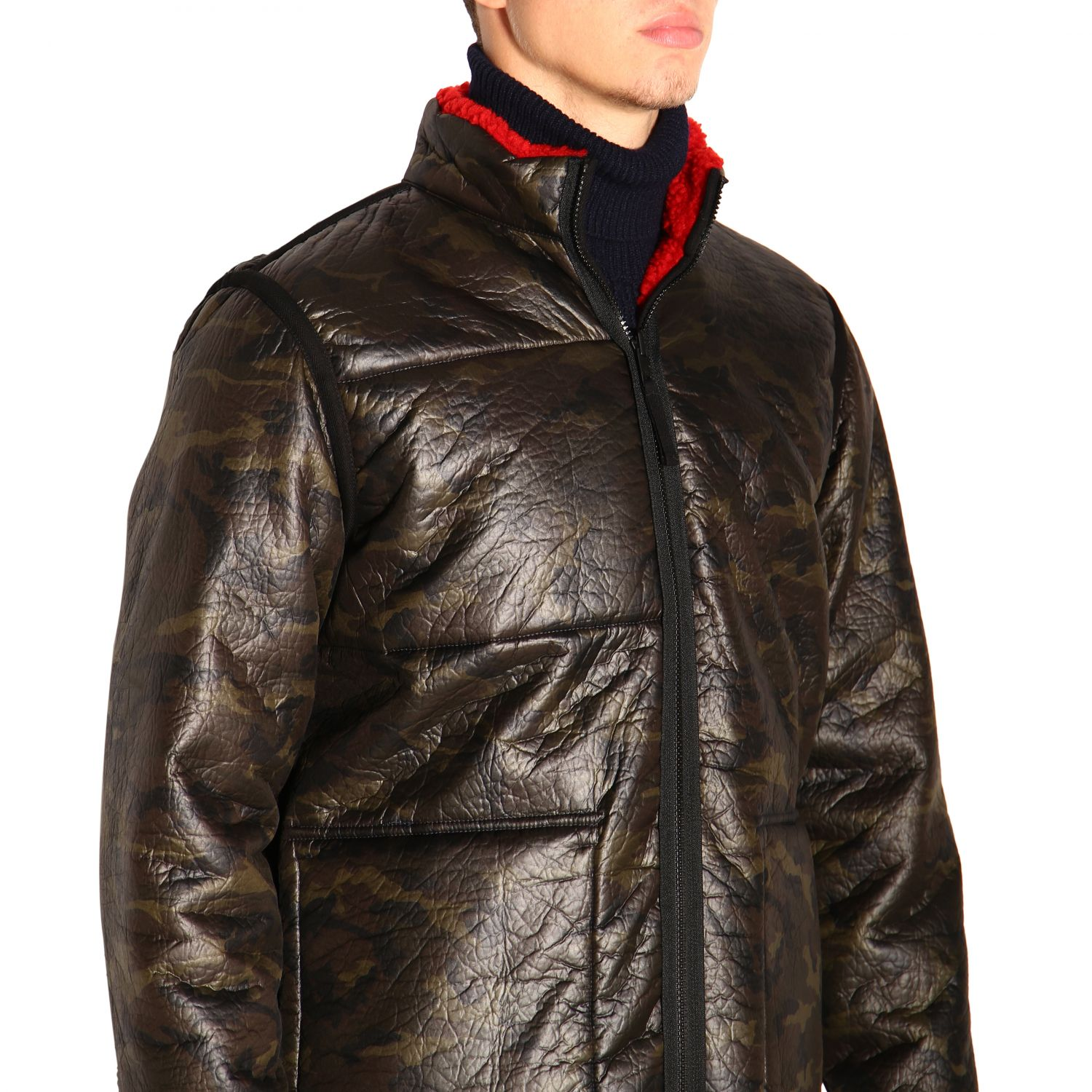Fay Reversible jacket in leather and fleece red 5