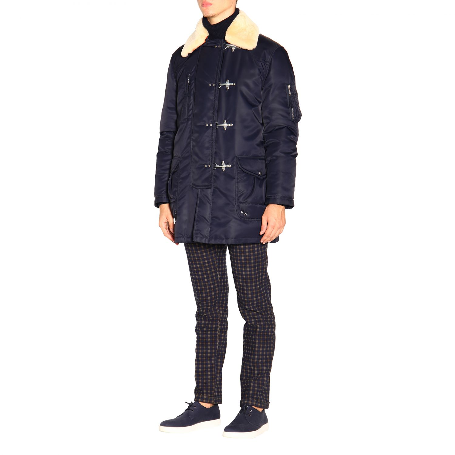 Fay jacket with nylon frogs blue 4
