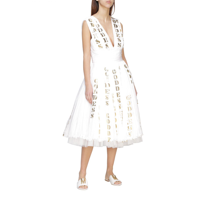 Moschino Couture Plissee Chiffon Kleid mit laminierten Print