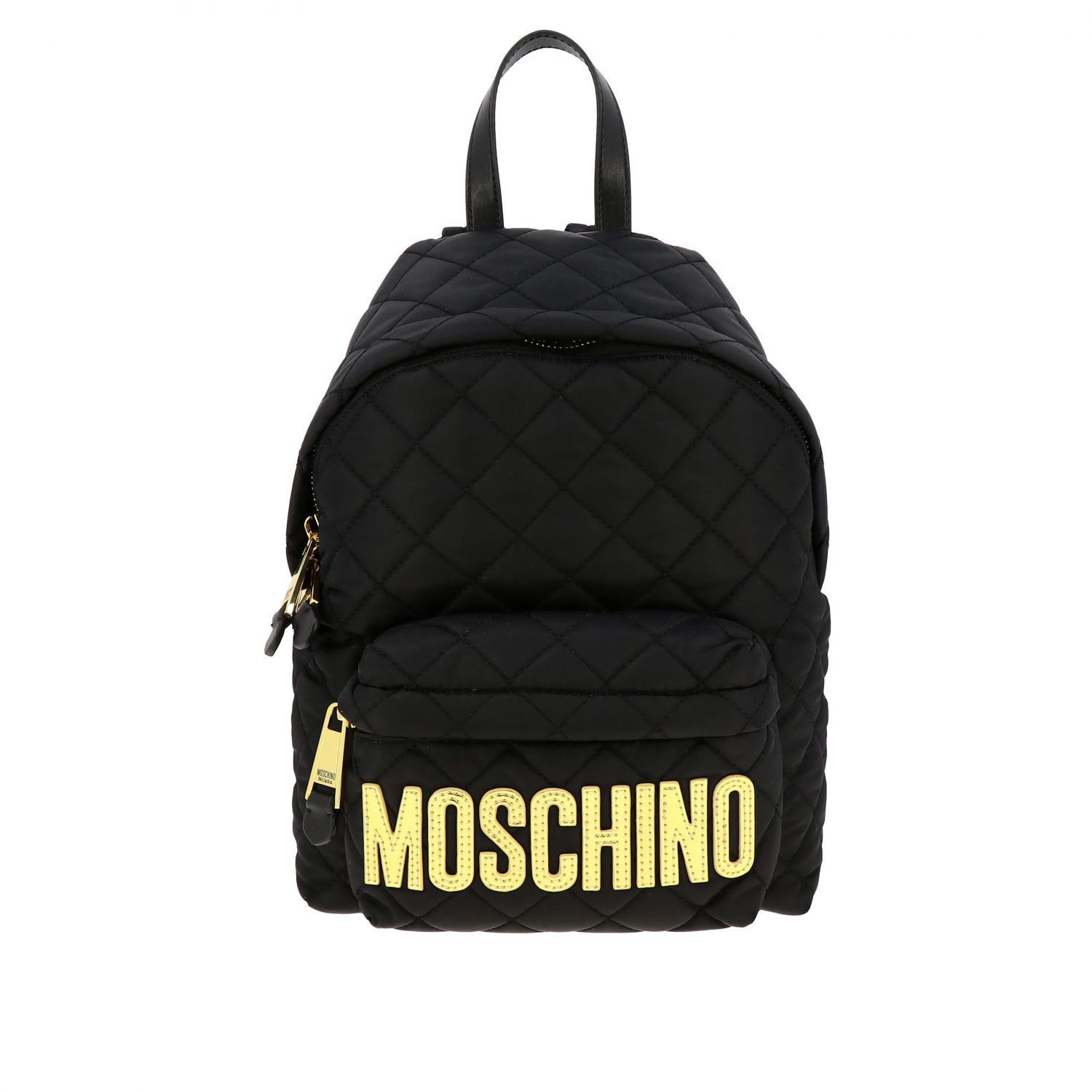 Zaino Moschino Couture in nylon trapuntato con big logo nero 1