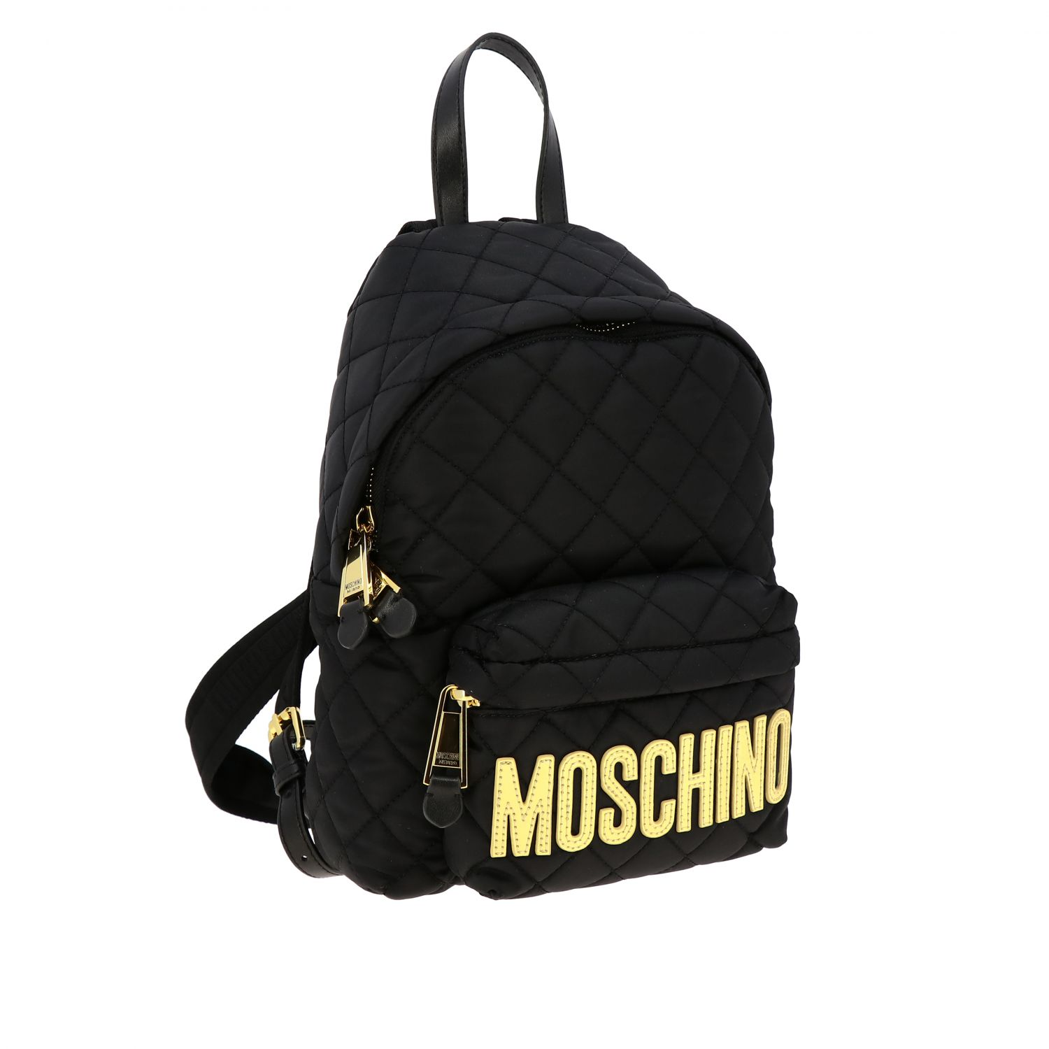 Zaino Moschino Couture in nylon trapuntato con big logo nero 3
