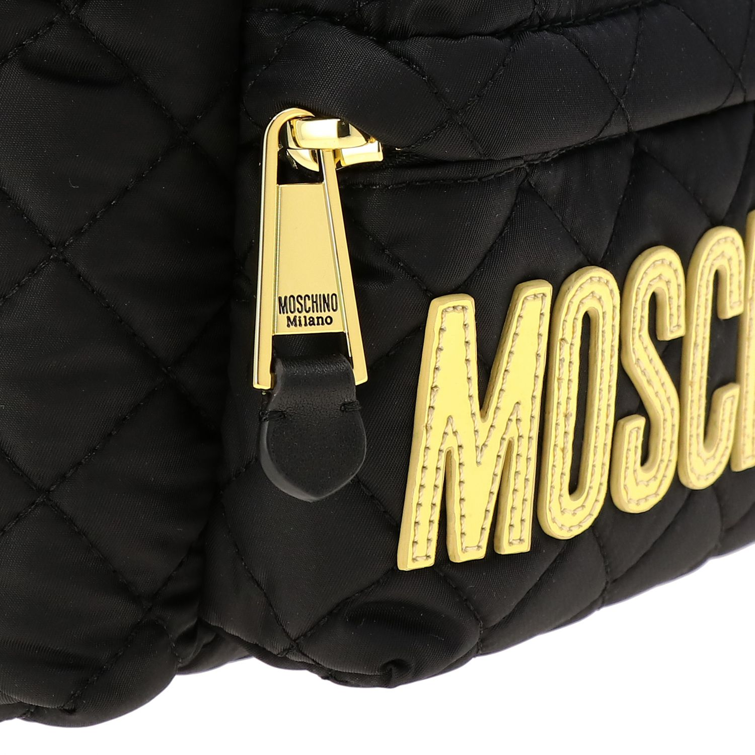 Zaino Moschino Couture in nylon trapuntato con big logo nero 5