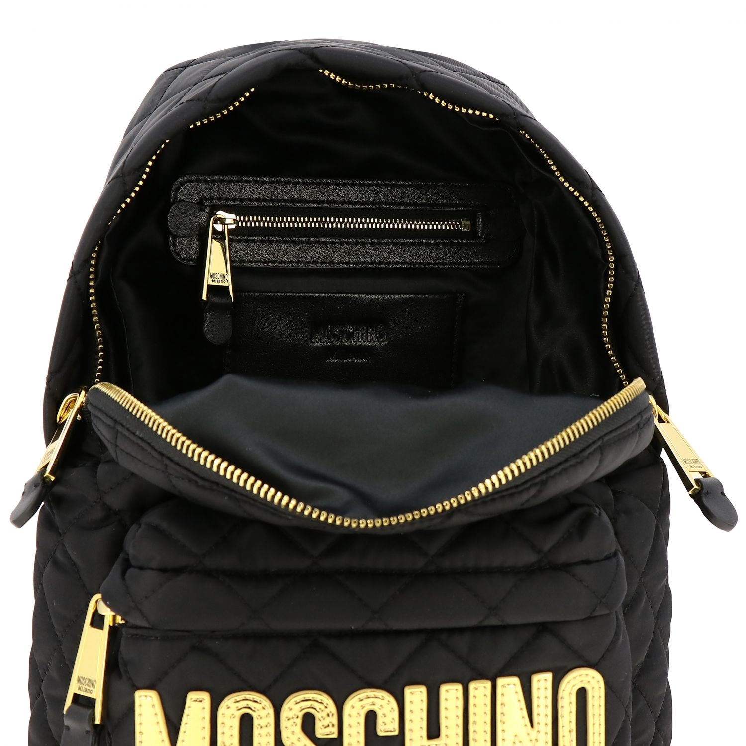 Zaino Moschino Couture in nylon trapuntato con big logo nero 6