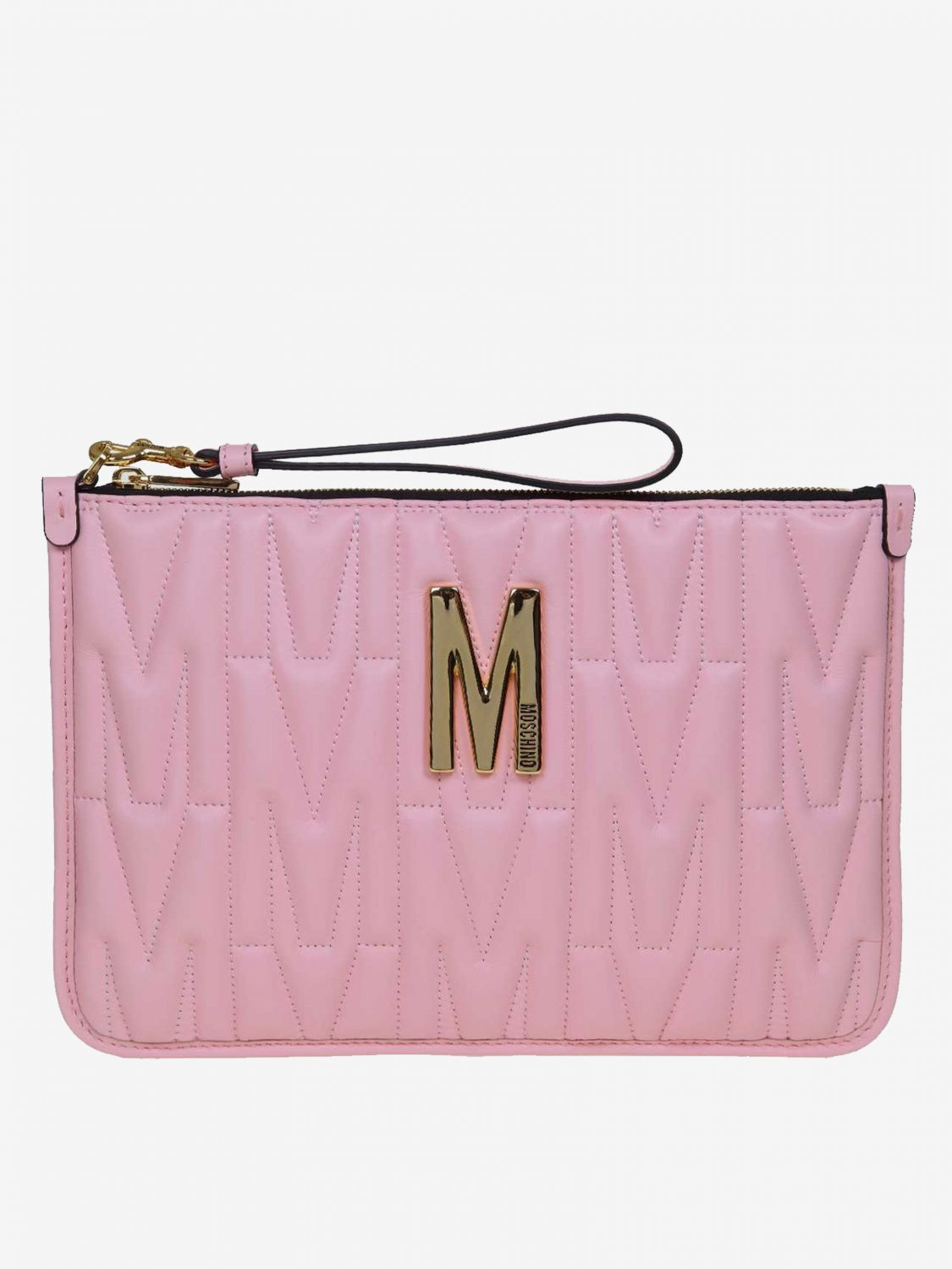 Moschino Couture clutch bag in quilted leather with big monogram pink 1
