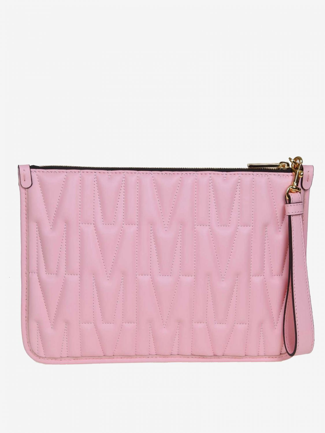Moschino Couture clutch bag in quilted leather with big monogram pink 2
