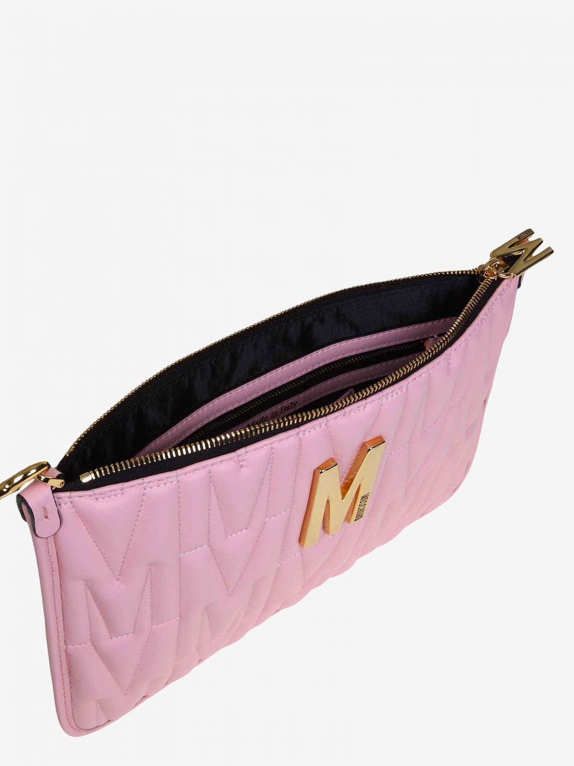 Moschino Couture clutch bag in quilted leather with big monogram pink 3