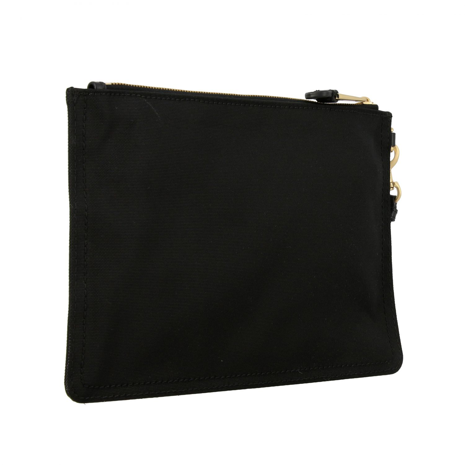 Moschino Couture canvas clutch with laminated logo black 3
