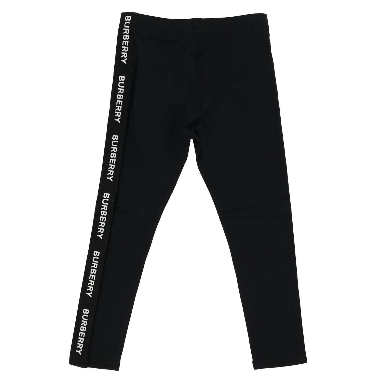 裤子 Burberry: Burberry logo装饰弹性棉打底裤 黑色 2