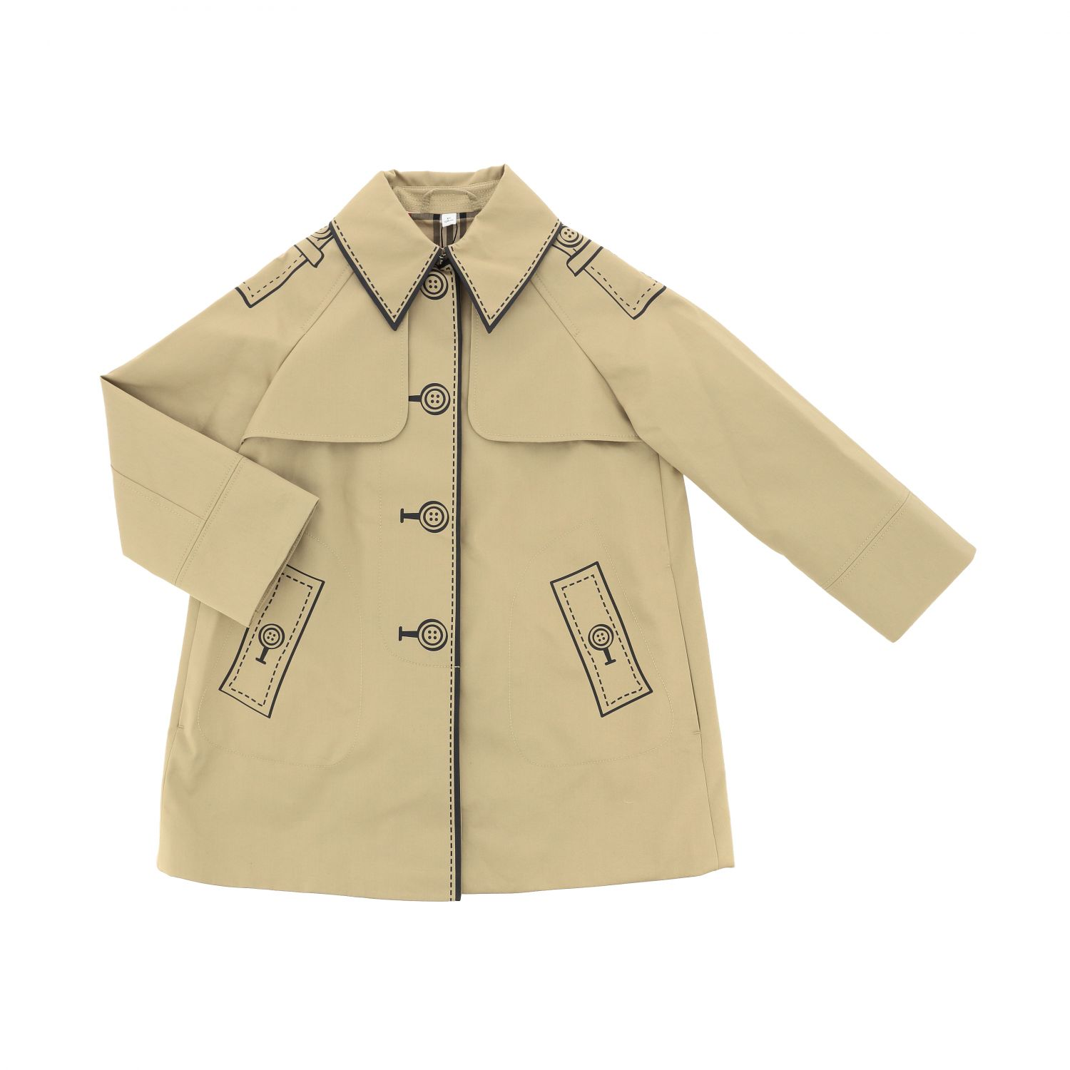 Burberry trench coat with button print beige 1