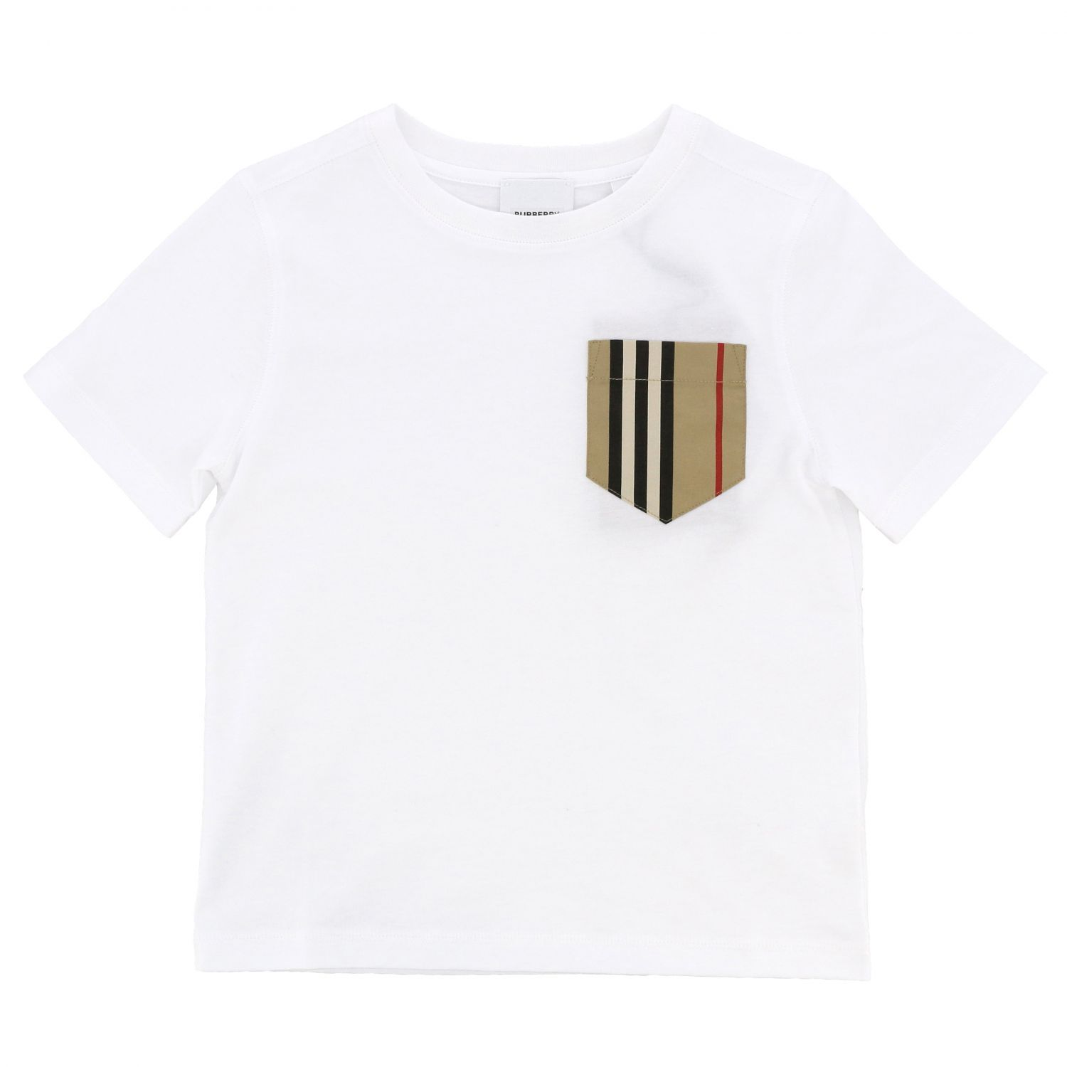Short-sleeved Burberry t-shirt with striped pocket white 1