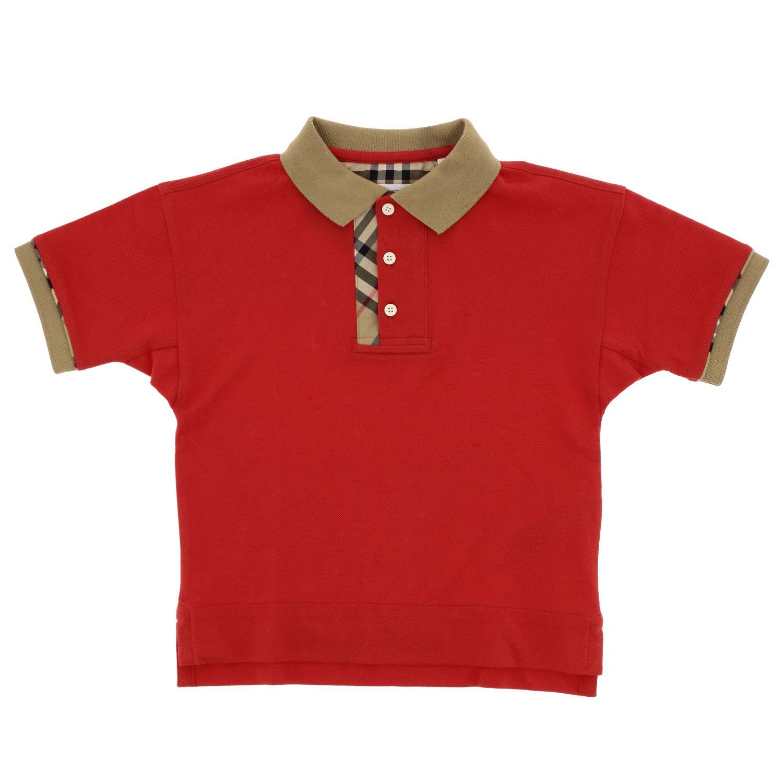 Polo Burberry a maniche corte con dettagli check rosso 1