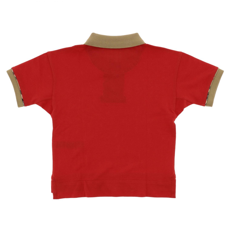 Polo Burberry a maniche corte con dettagli check rosso 2