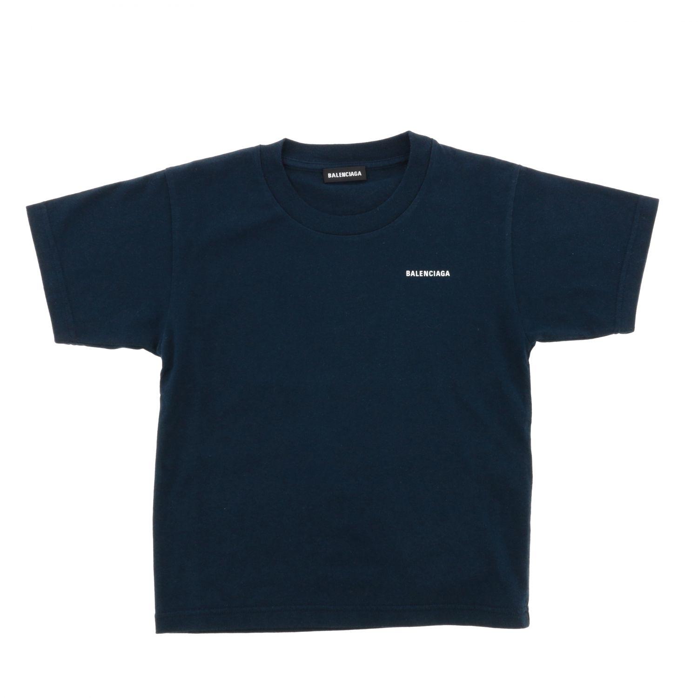 T-shirt Balenciaga: T-shirt Balenciaga a maniche corte con stampa logo blue 1