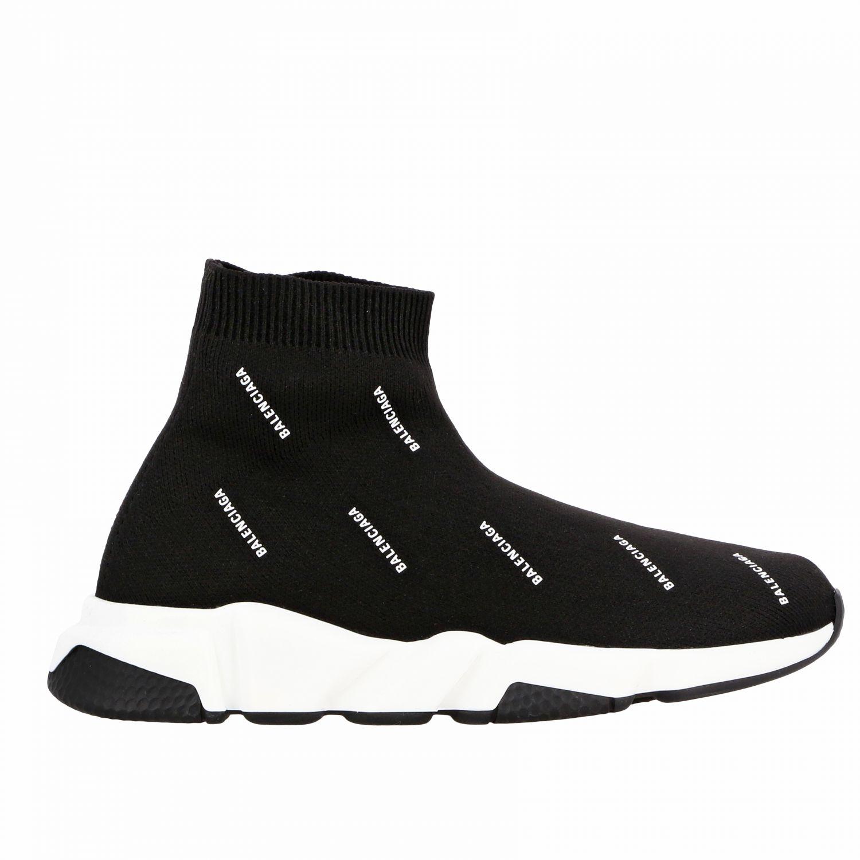Scarpe Balenciaga: Sneakers Speed Balenciaga con logo all over nero 1