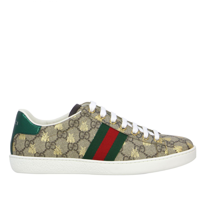 Sneakers New Ace Gucci in pelle GG Supreme con fasce Web beige 1