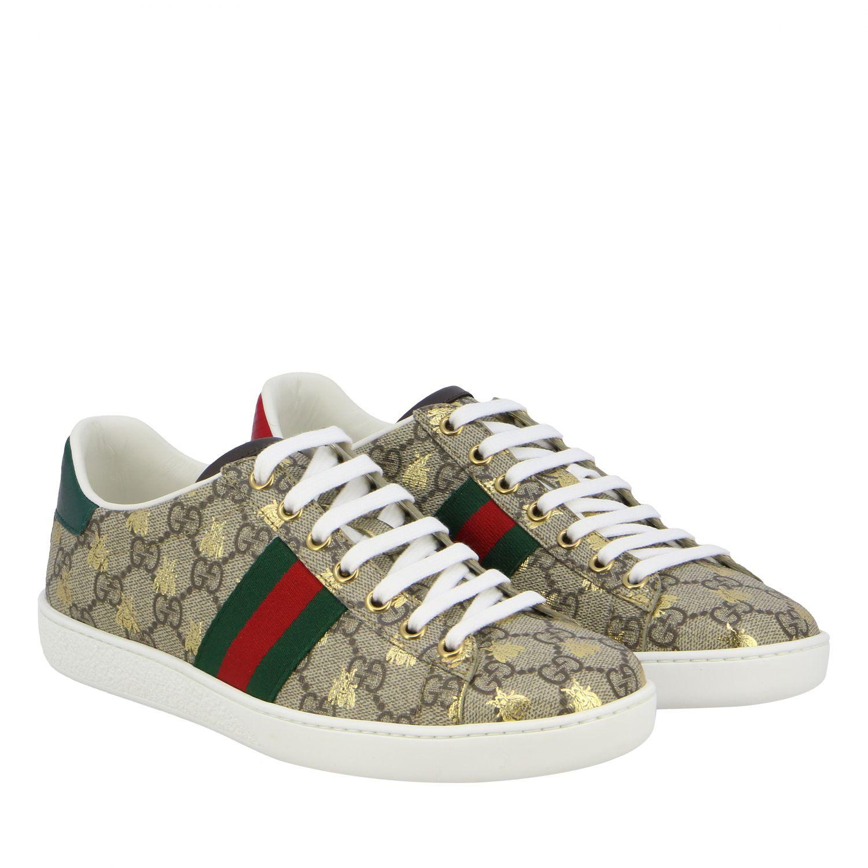 Sneakers New Ace Gucci in pelle GG Supreme con fasce Web beige 2
