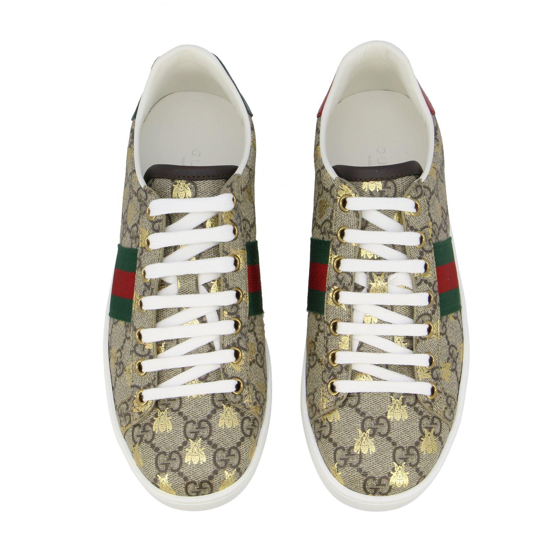 Sneakers New Ace Gucci in pelle GG Supreme con fasce Web beige 3