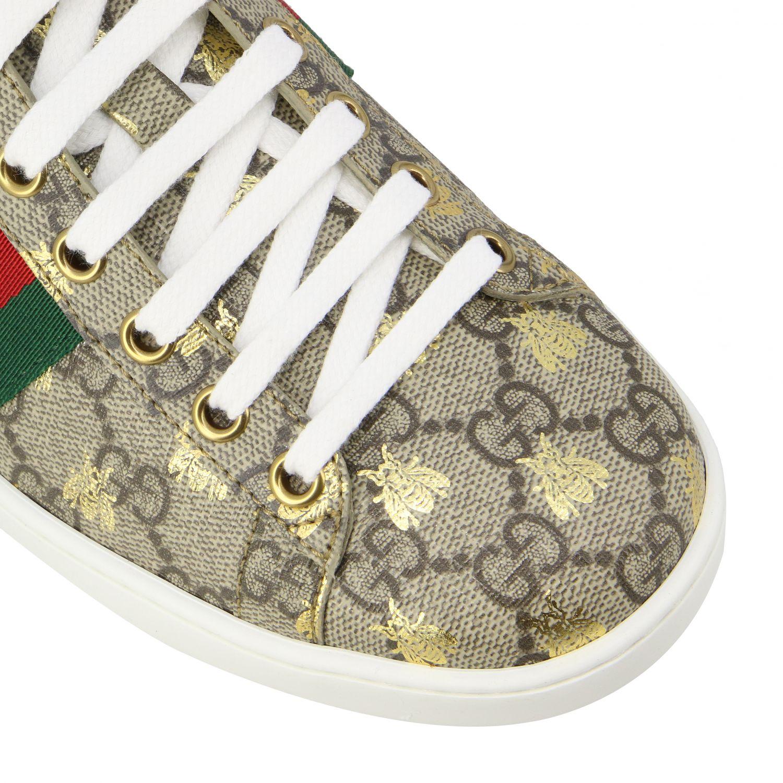 Sneakers New Ace Gucci in pelle GG Supreme con fasce Web beige 4