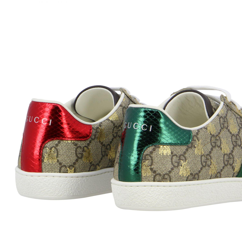 Sneakers New Ace Gucci in pelle GG Supreme con fasce Web beige 5