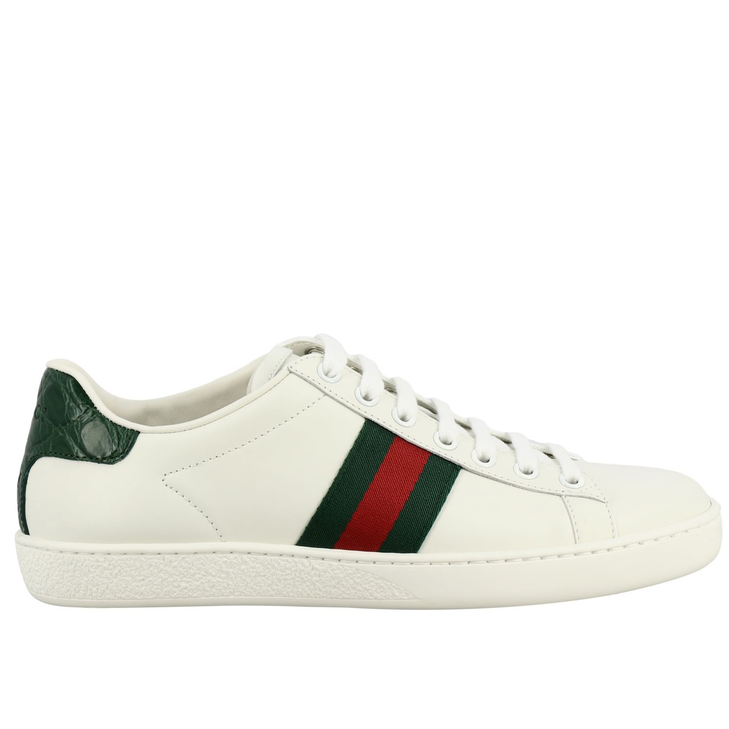 Sneakers New Ace Gucci in pelle con fasce Web bianco 1