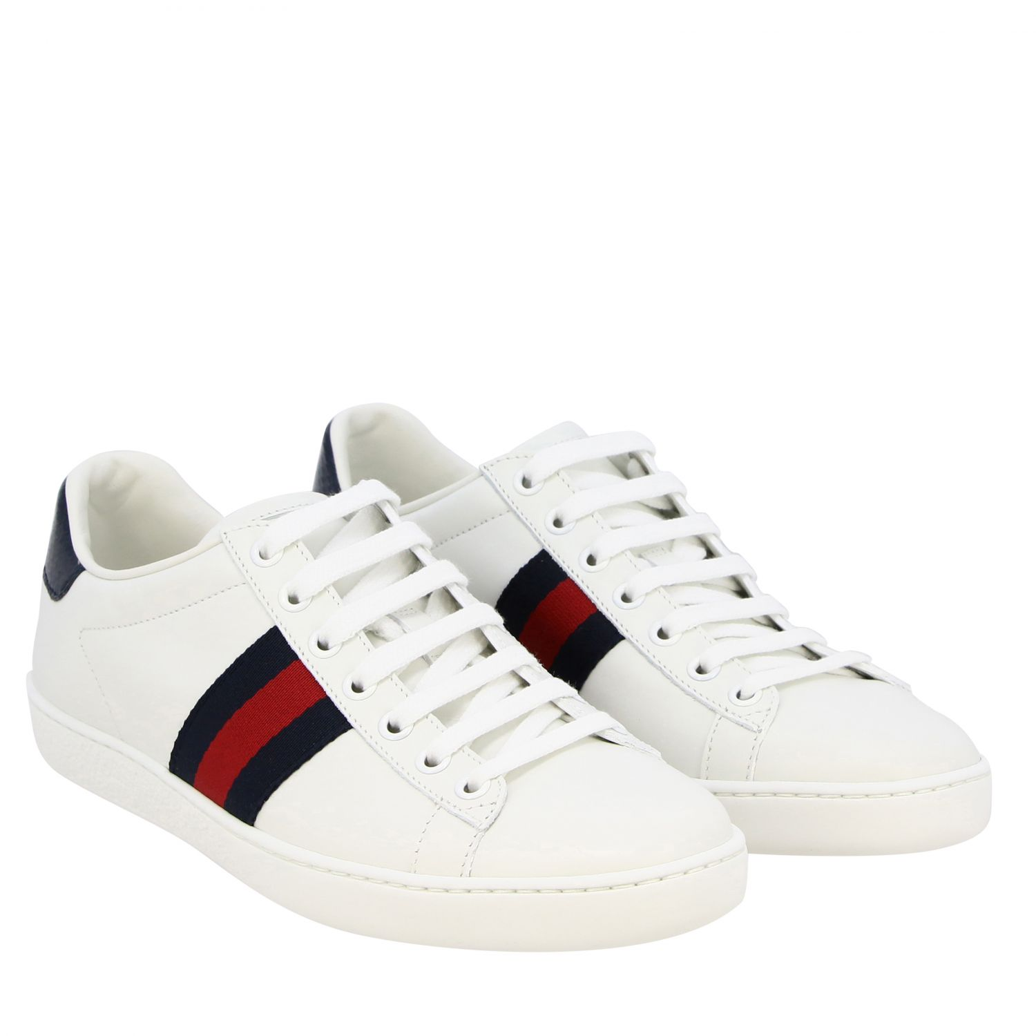 Sneakers New Ace Gucci in pelle con fasce Web bianco 2