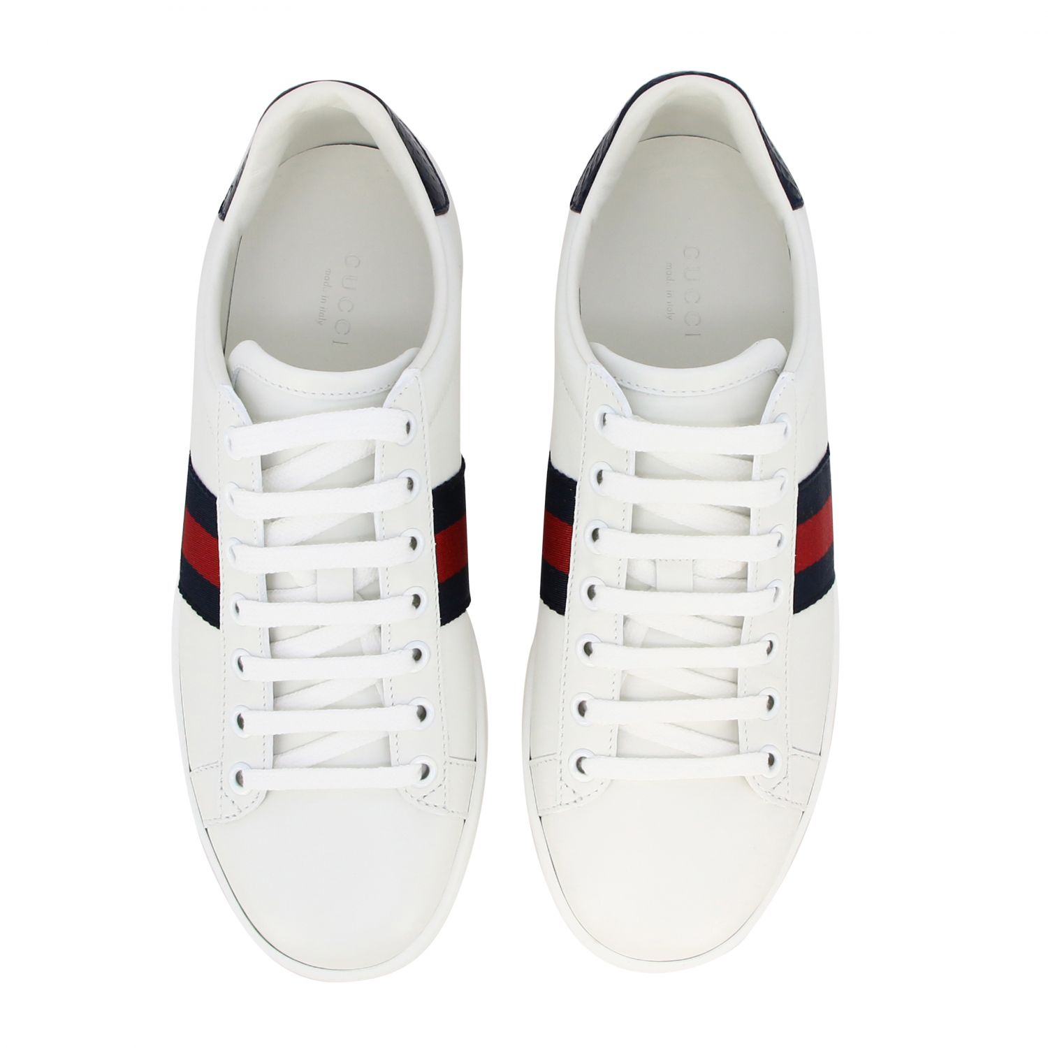 Sneakers New Ace Gucci in pelle con fasce Web bianco 3