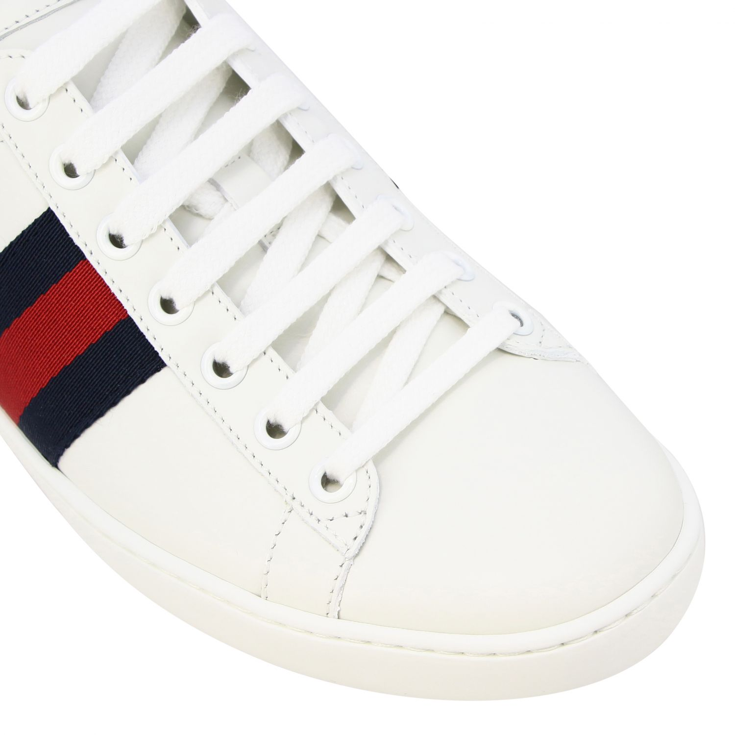 Sneakers New Ace Gucci in pelle con fasce Web bianco 4