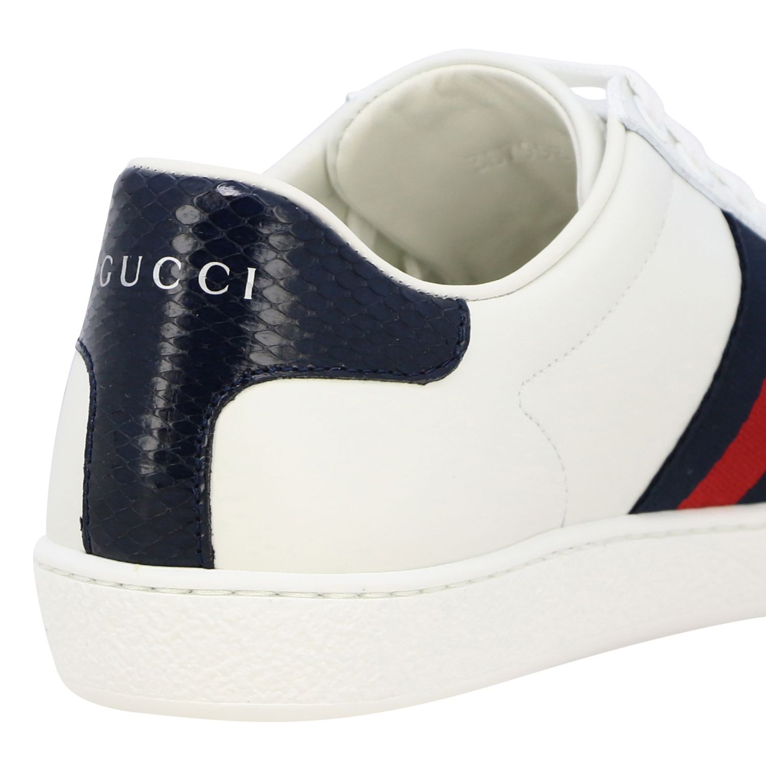 Sneakers New Ace Gucci in pelle con fasce Web bianco 5