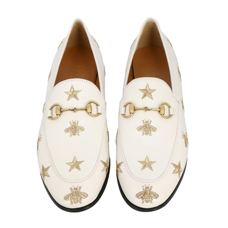 Mocassino Jordan Gucci in pelle liscia con morsetto metallico e ricami stelle/api panna 3