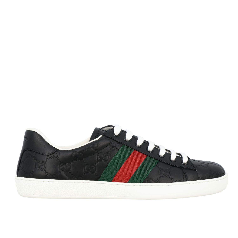 Sneakers New Ace Gucci in pelle GG Supreme con fasce Web nero 1