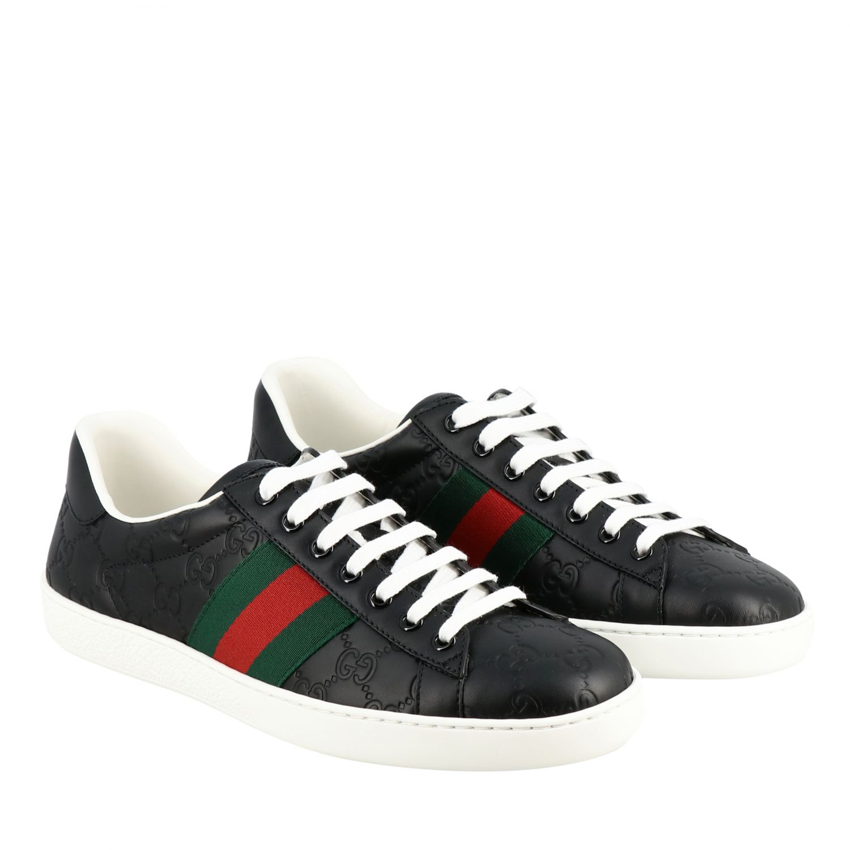 Sneakers New Ace Gucci in pelle GG Supreme con fasce Web nero 2