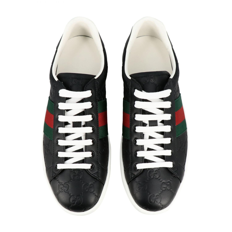 Sneakers New Ace Gucci in pelle GG Supreme con fasce Web nero 3
