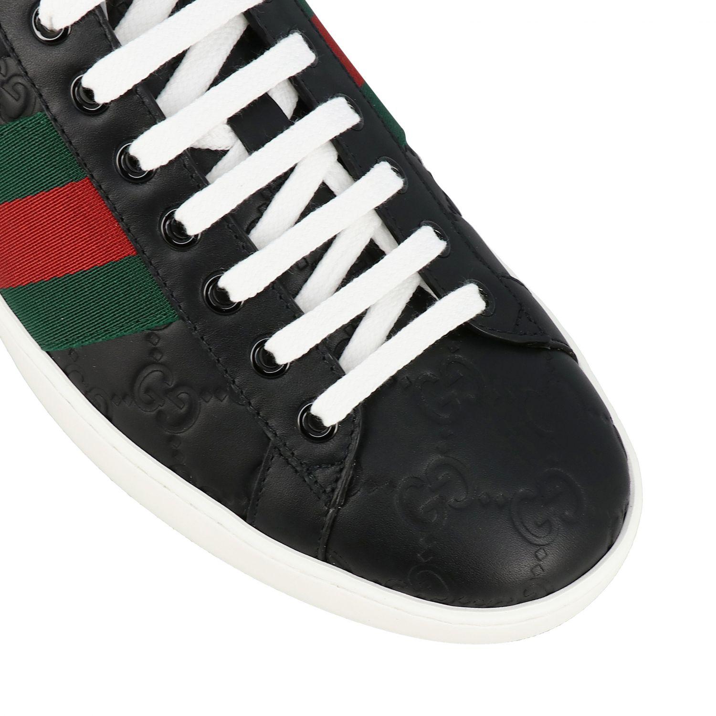 Sneakers New Ace Gucci in pelle GG Supreme con fasce Web nero 4
