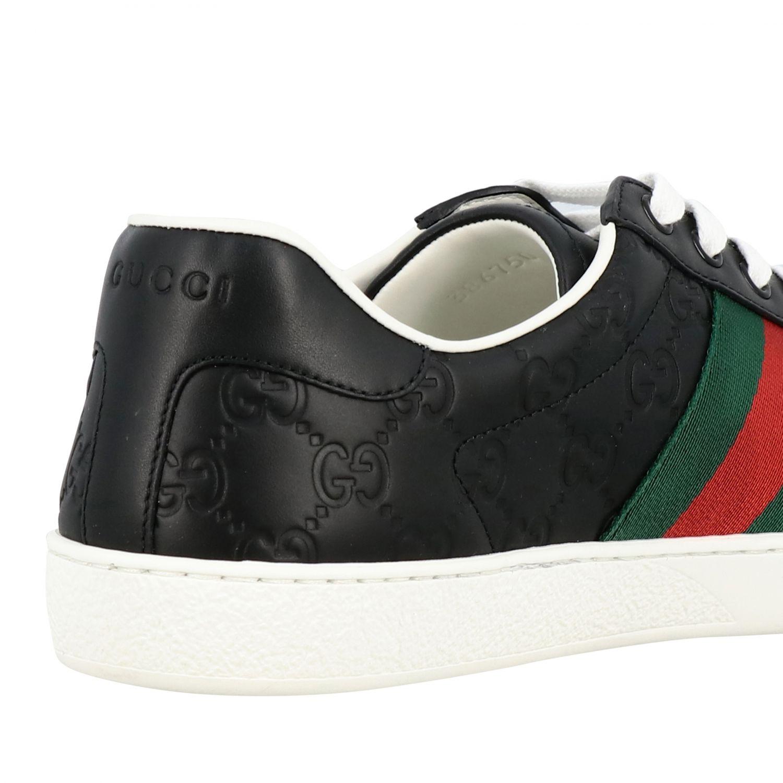 Sneakers New Ace Gucci in pelle GG Supreme con fasce Web nero 5