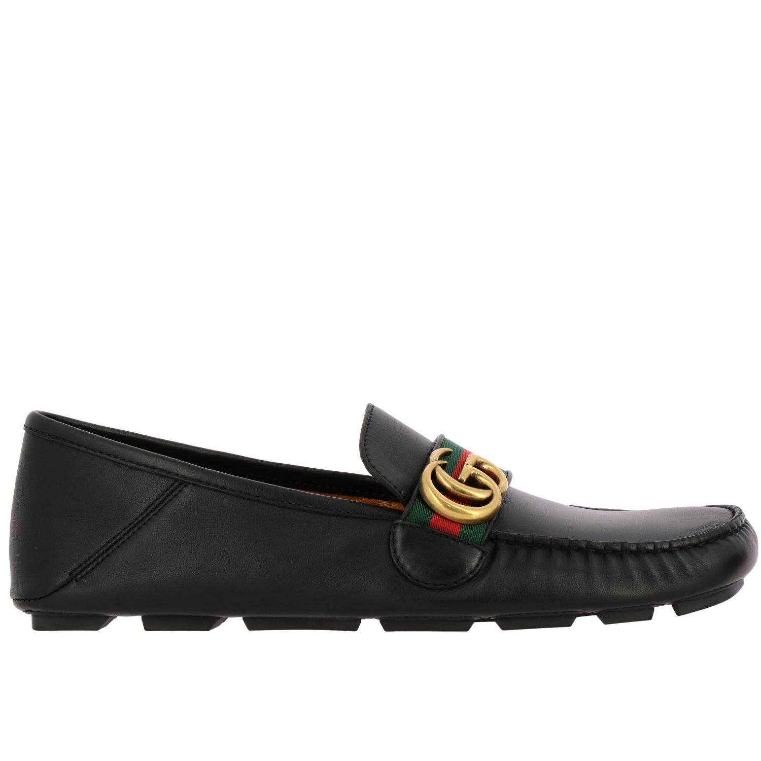 Gucci Noel driver moccasin in leather with Web buckle and GG Marmont monogram black 1