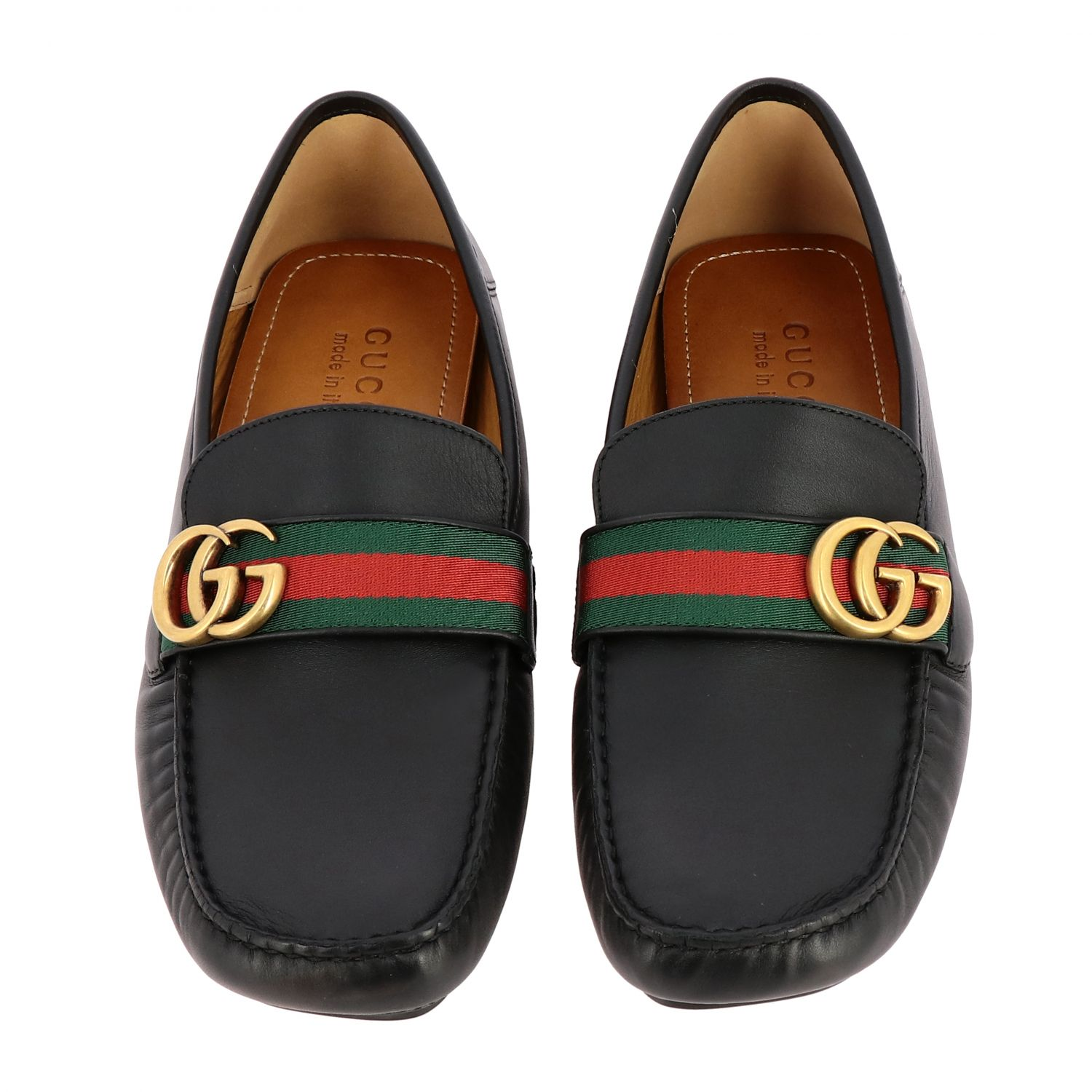 Gucci Noel driver moccasin in leather with Web buckle and GG Marmont monogram black 3