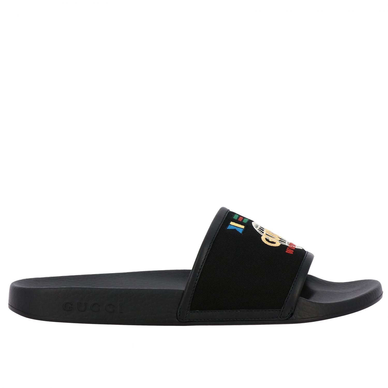 Sandalo Pursuit Gucci in nylon con logo worldwide ricamato nero 1