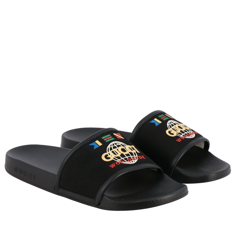Sandalo Pursuit Gucci in nylon con logo worldwide ricamato nero 2