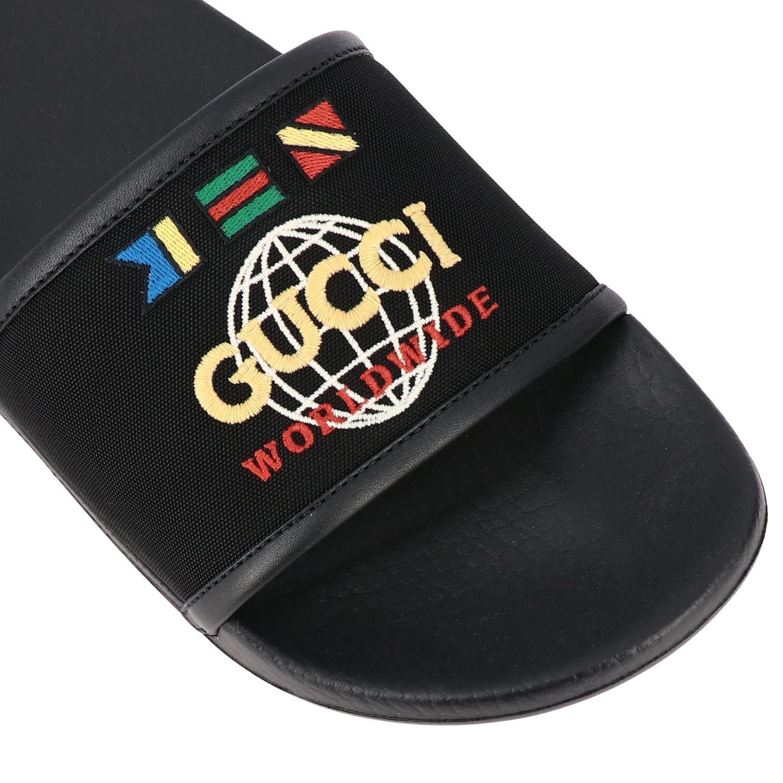 Sandalo Pursuit Gucci in nylon con logo worldwide ricamato nero 4