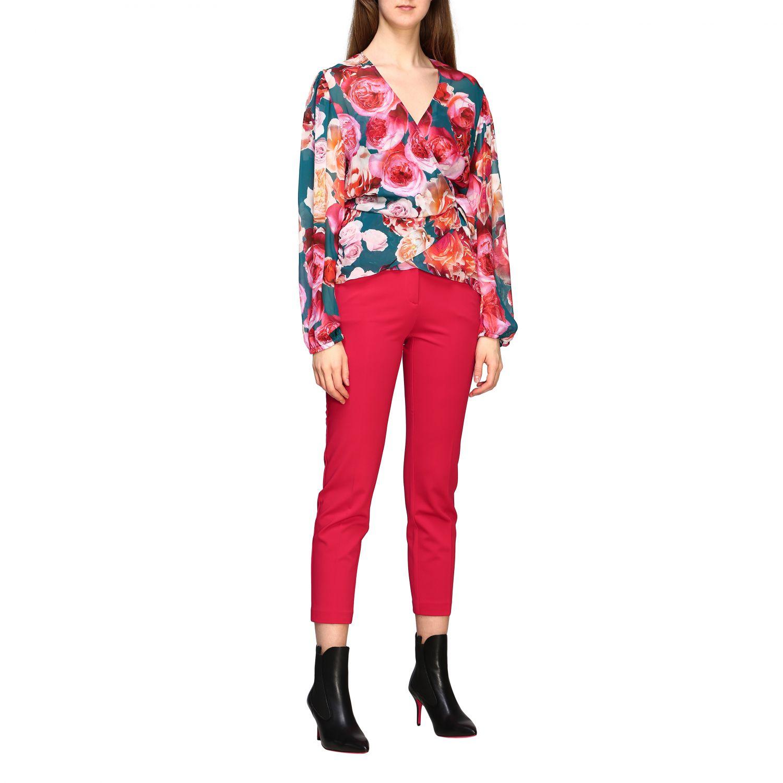 Bello 83 Pinko trousers in slim stitch red 2