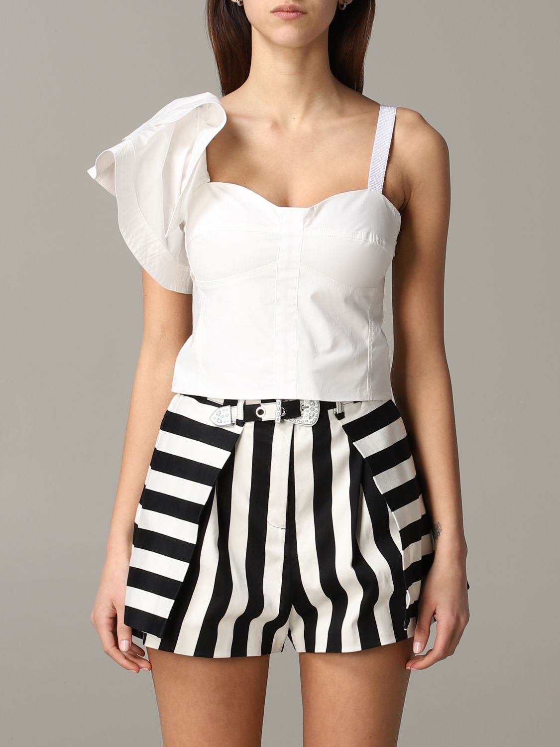 Pinko Danny cropped top with ruffles white 1